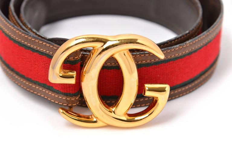Women's or Men's Vintage Gucci Leather and Canvas Belt with Gold-Tone Double G's For Sale