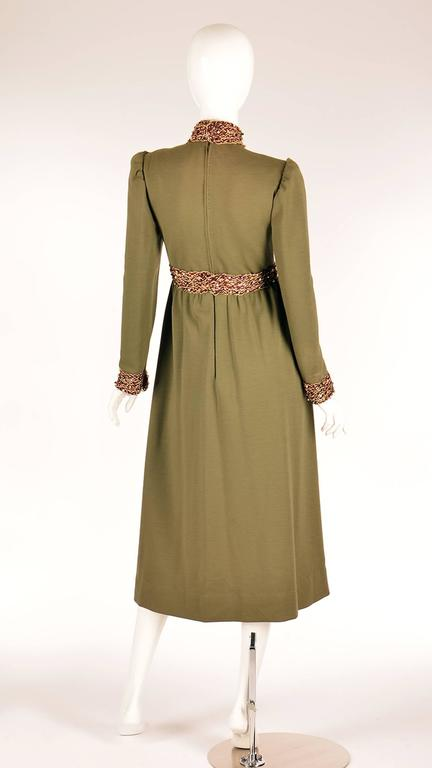 Late 1960s Geoffrey Beene Olive Green Dress In Good Condition For Sale In Houston, TX