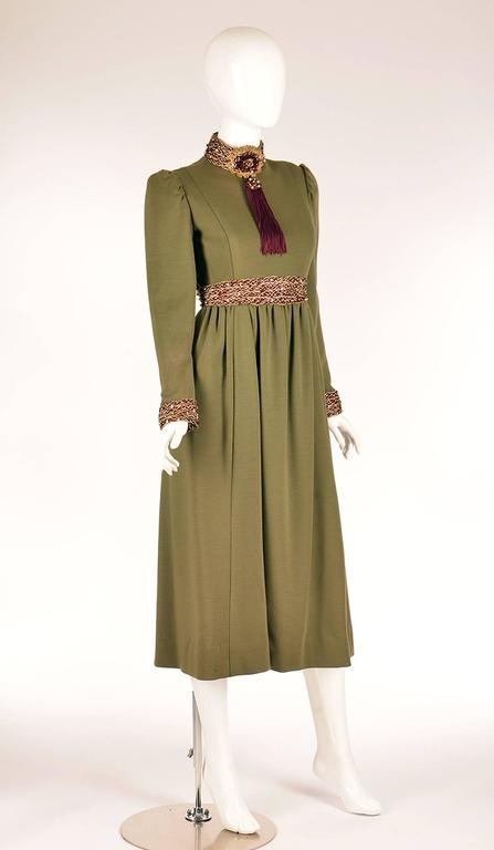 Brown Late 1960s Geoffrey Beene Olive Green Dress For Sale