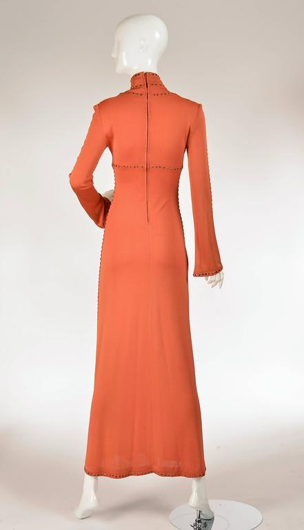 1960s Ayako Burnt Orange Rhinestone Evening Dress At 1stdibs