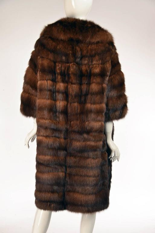 Black 1950s Maximillian Horizontally Striped Mink Coat For Sale