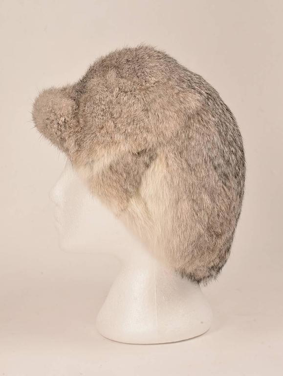 Beige 1960s Adolfo II Fur Hat with Hip Fur Bill  For Sale
