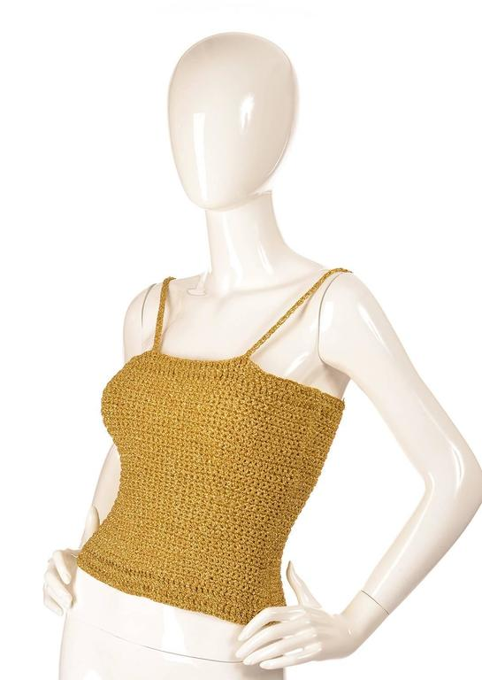 Brown Vintage Gold Knit Metallic Crop Top For Sale