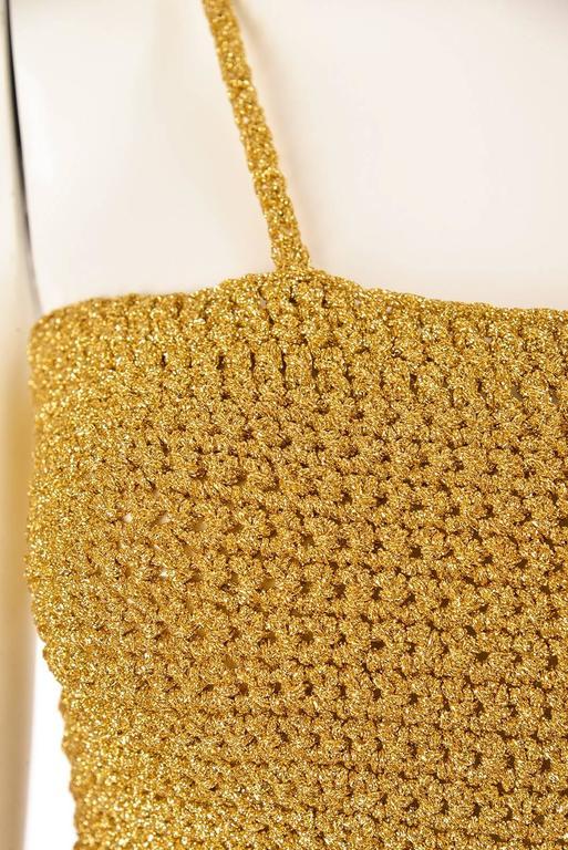 Vintage Gold Knit Metallic Crop Top In Excellent Condition For Sale In Houston, TX