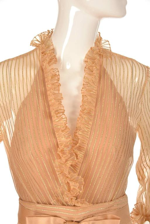 Women's 1973 Christian Dior Haute Couture Gold Cocktail Dress by Marc Bohan For Sale