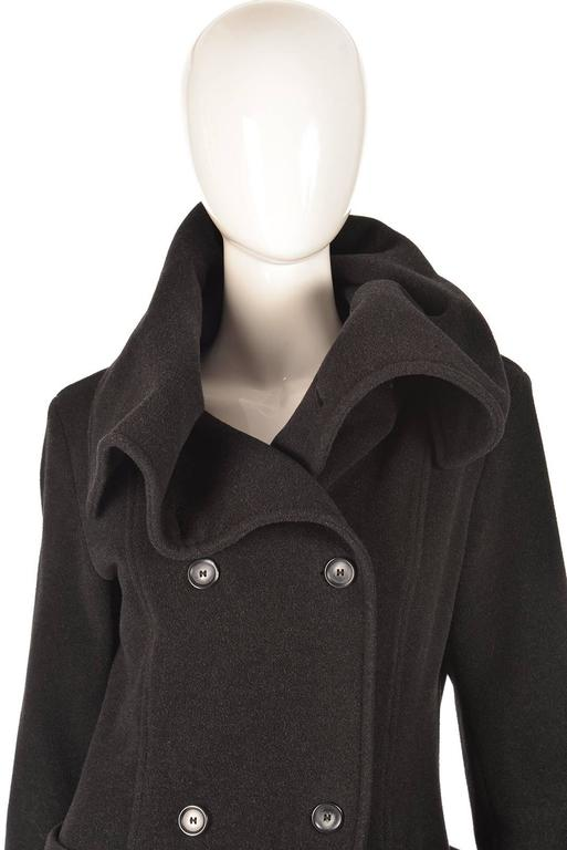Ivan Grundahal Black Wool Large Collar Coat In Excellent Condition For Sale In Houston, TX