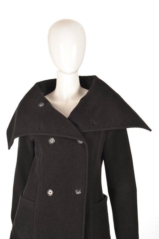 Women's Ivan Grundahal Black Wool Large Collar Coat For Sale