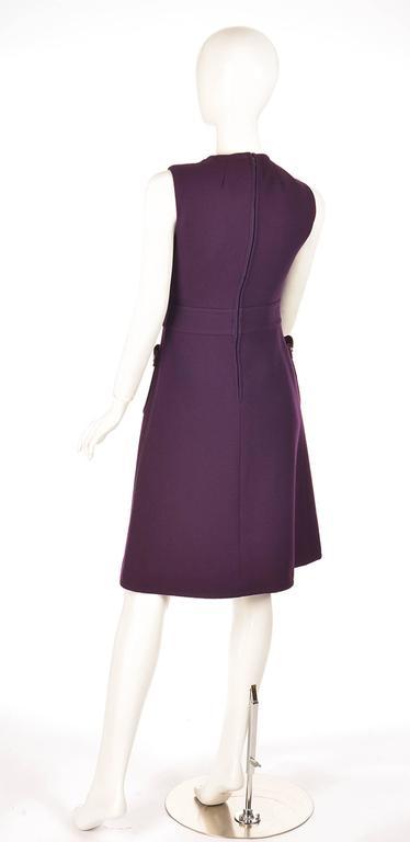 Black Rare1950s Pierre Cardin Wool Eggplant Purple Sheath Dress For Sale