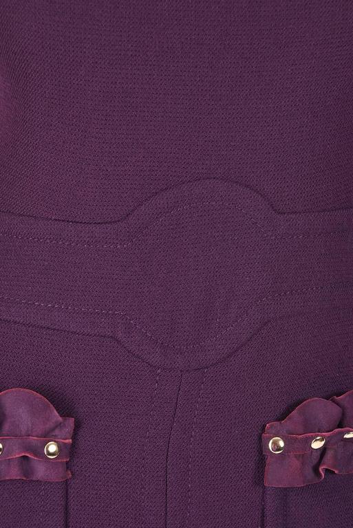 Rare1950s Pierre Cardin Wool Eggplant Purple Sheath Dress In Good Condition For Sale In Houston, TX
