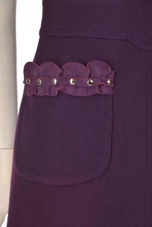 Women's Rare1950s Pierre Cardin Wool Eggplant Purple Sheath Dress For Sale