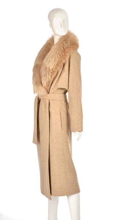 Beige Bill Blass Camel Colored Wool and Fox Fur Coat, Late 1970s