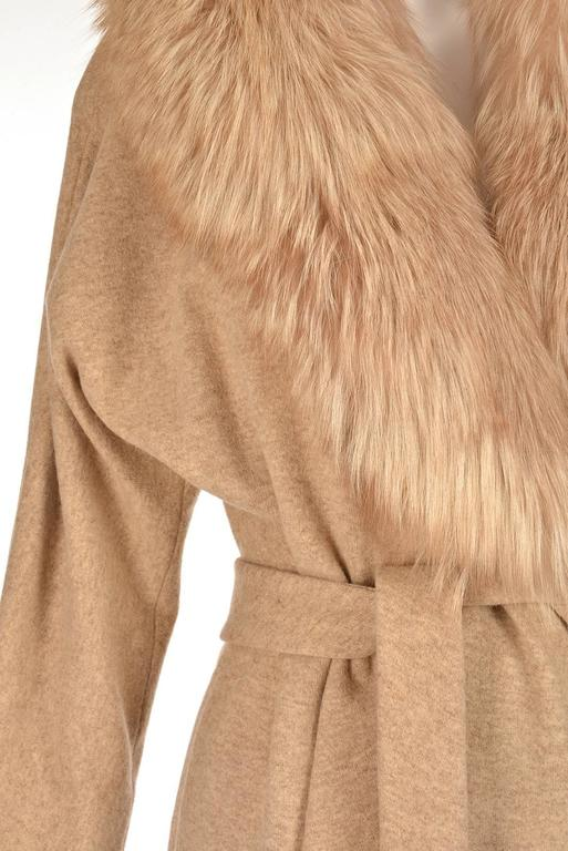 Women's Bill Blass Camel Colored Wool and Fox Fur Coat, Late 1970s