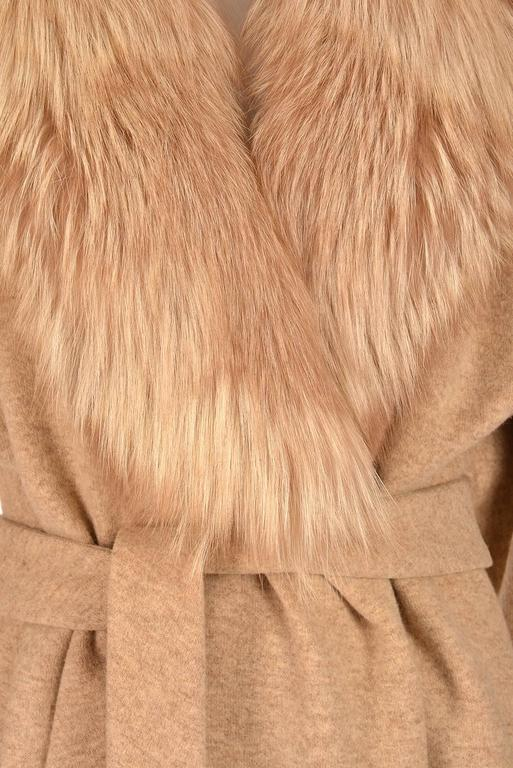 Bill Blass Camel Colored Wool and Fox Fur Coat, Late 1970s  1