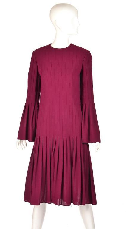 1960s Pierre Cardin Eggplant Purple Pleated Dress 5