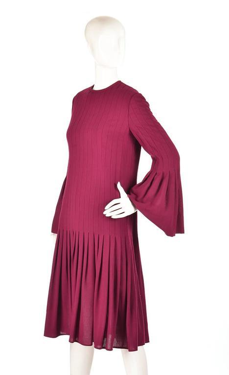 1960s Pierre Cardin Eggplant Purple Pleated Dress 2