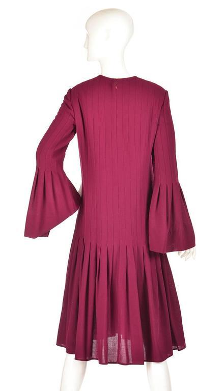 1960s Pierre Cardin Eggplant Purple Pleated Dress 3