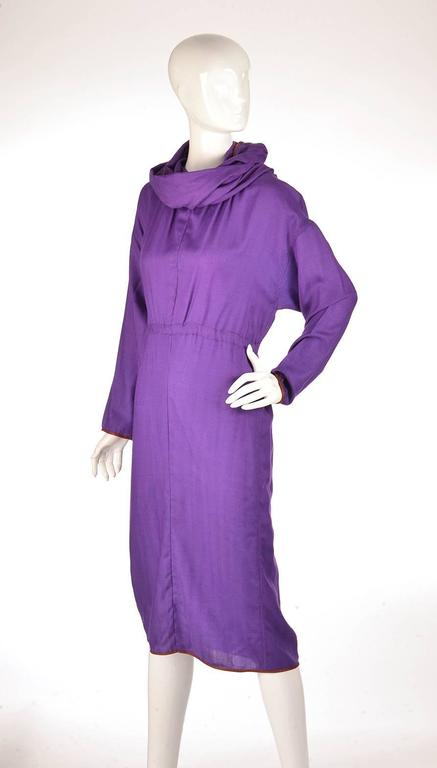 Late 20th Century Geoffrey Beene Purple Hooded Wool Dress  3