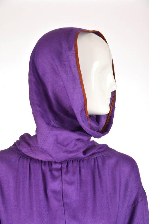 Late 20th Century Geoffrey Beene Purple Hooded Wool Dress  2