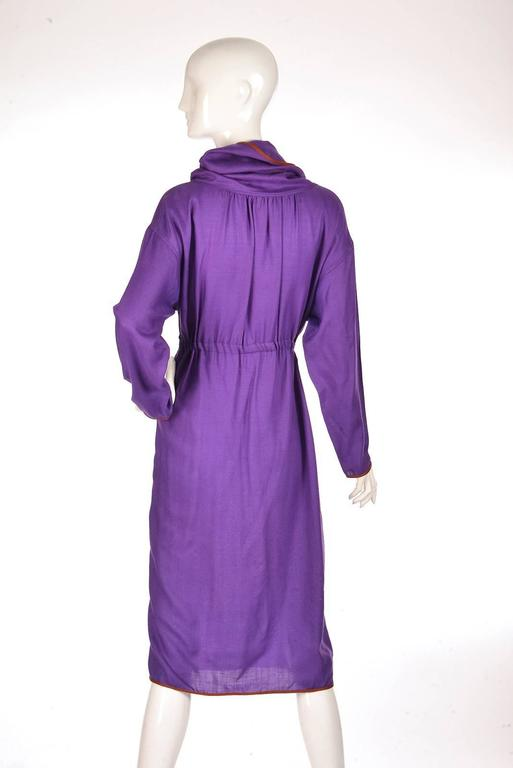 Late 20th Century Geoffrey Beene Purple Hooded Wool Dress  6