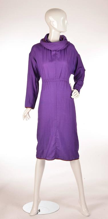 Late 20th Century Geoffrey Beene Purple Hooded Wool Dress  4