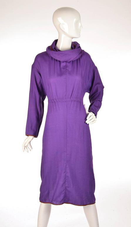 Late 20th Century Geoffrey Beene Purple Hooded Wool Dress  5