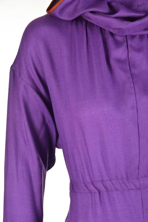 Late 20th Century Geoffrey Beene Purple Hooded Wool Dress  7