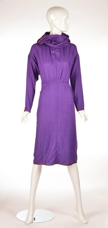 Late 20th Century Geoffrey Beene Purple Hooded Wool Dress  8
