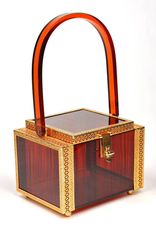 Brown 1950s Tortoise Shell Lucite Box Purse For Sale