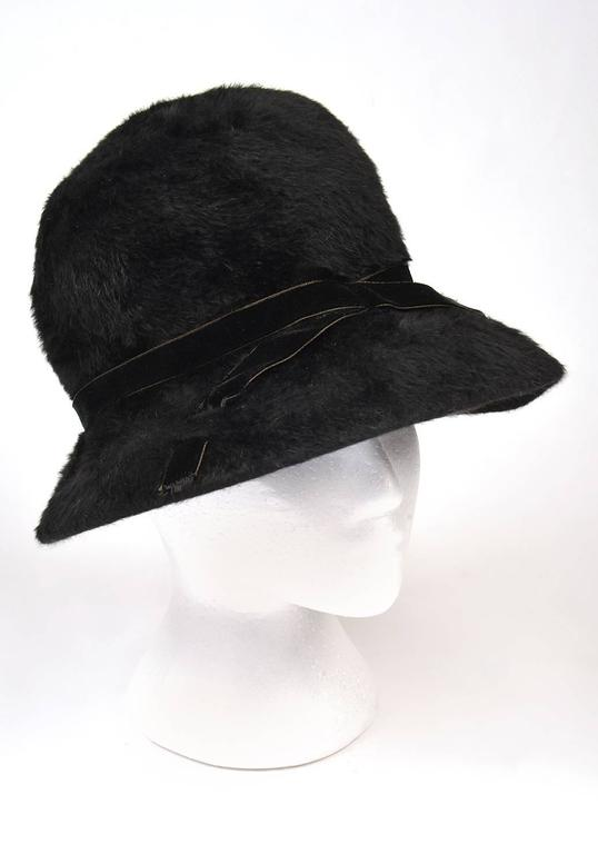1970s Mr. John Classic Black Faux Fur Hat In Excellent Condition For Sale In Houston, TX
