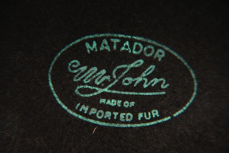1970s Mr. John Classic Black Faux Fur Hat For Sale 2