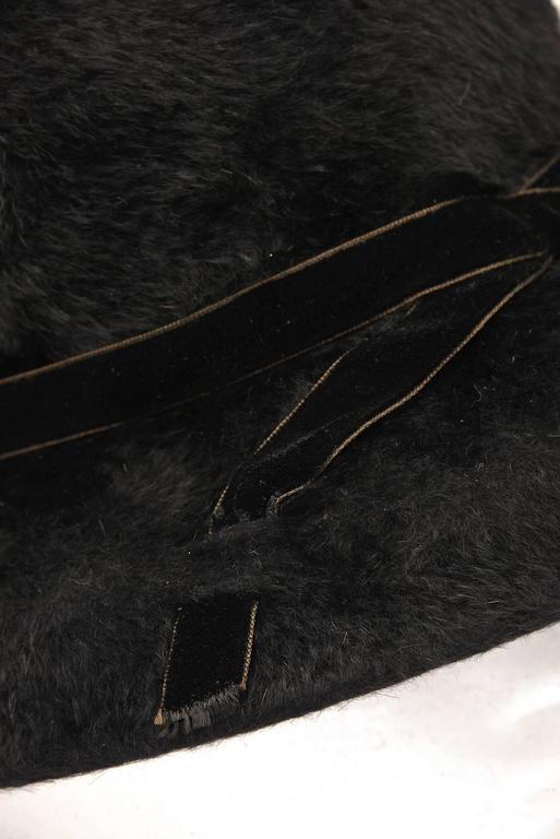 1970s Mr. John Classic Black Faux Fur Hat For Sale 1