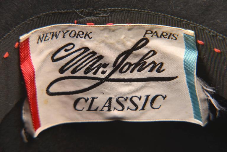 1970s Mr. John Classic Black Faux Fur Hat For Sale 3
