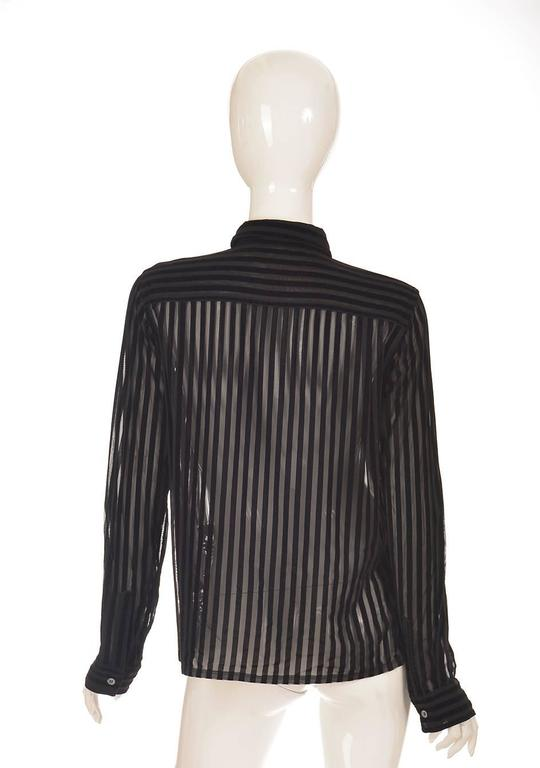 Black Comme des Garcons Junya Watanabe Velvet Striped Blouse, 1990s  For Sale