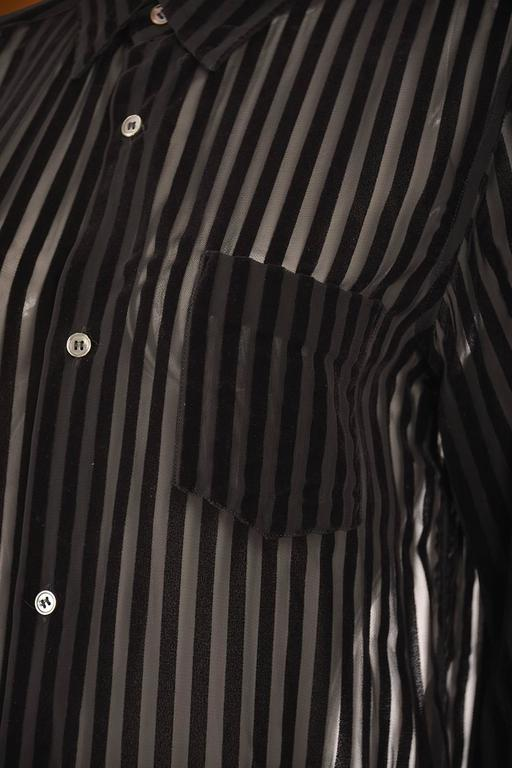 1990s Comme des Garcons Junya Watanabe Velvet Striped Blouse In Excellent Condition For Sale In Houston, TX