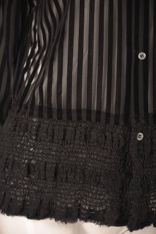 Women's Comme des Garcons Junya Watanabe Velvet Striped Blouse, 1990s  For Sale