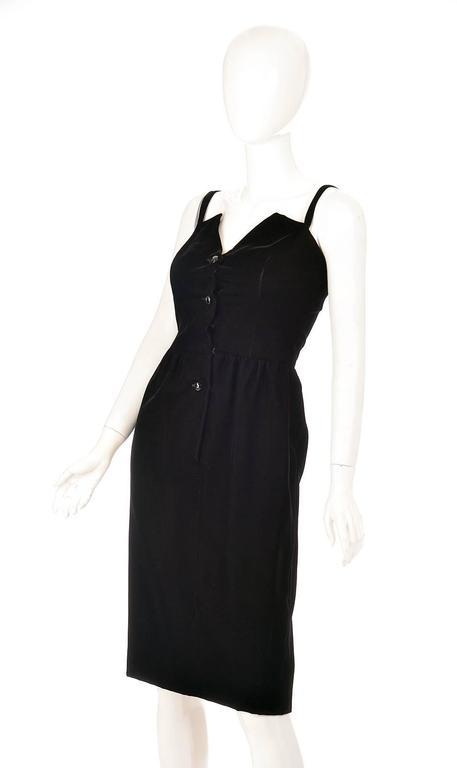 Women's Givenchy Nouvelle Boutique Black Velvet Dress, 1970s  For Sale