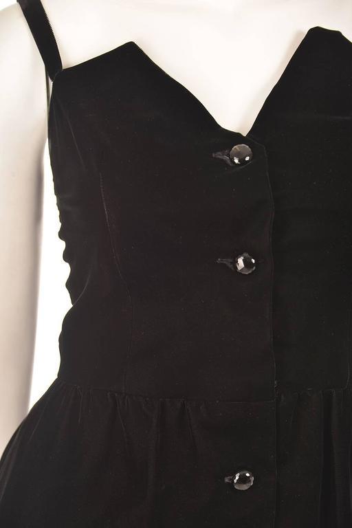 Givenchy Nouvelle Boutique Black Velvet Dress, 1970s  For Sale 2
