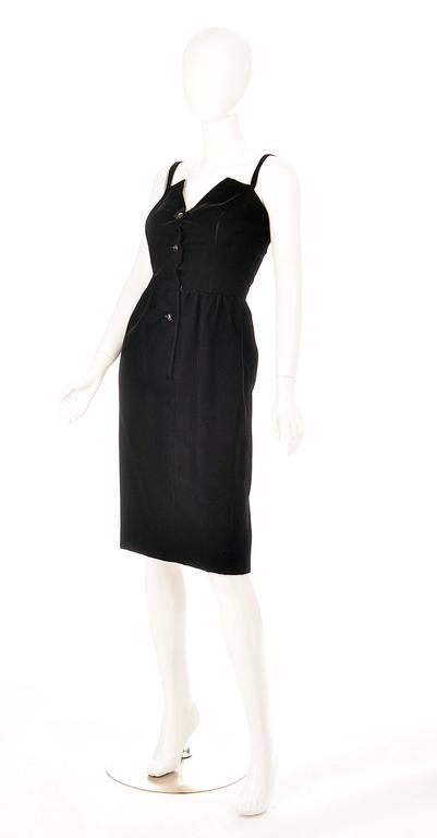 Givenchy Nouvelle Boutique Black Velvet Dress, 1970s  In Good Condition For Sale In Houston, TX
