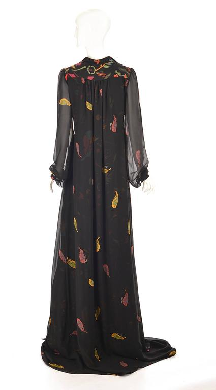 NWT 2008 Ossie Clark Black Silk Empire Feather Print Gown 3