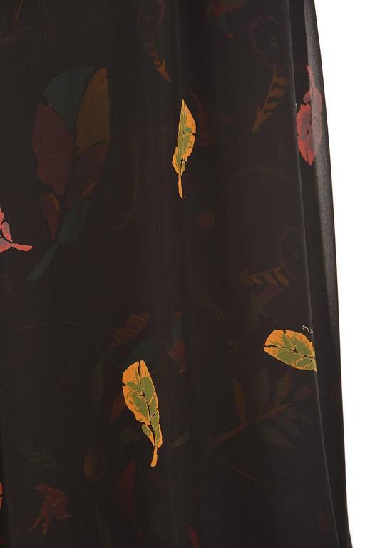 NWT 2008 Ossie Clark Black Silk Empire Feather Print Gown 6