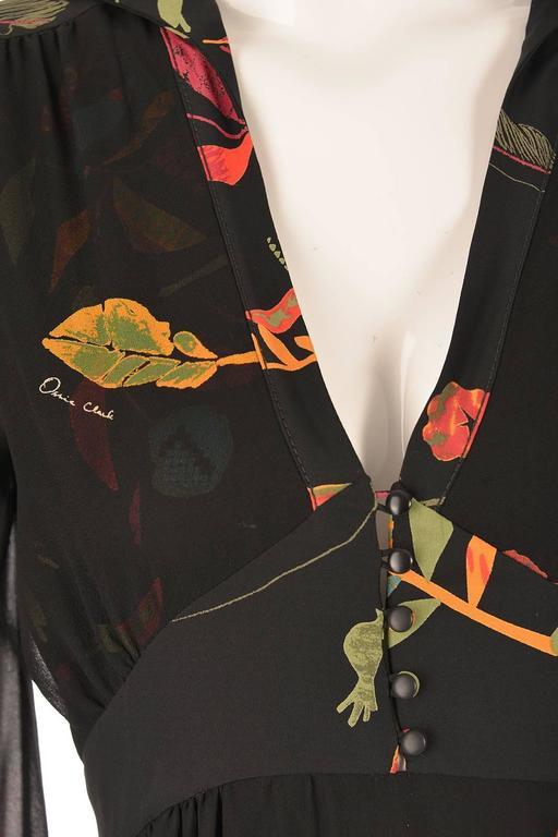 NWT 2008 Ossie Clark Black Silk Empire Feather Print Gown 5