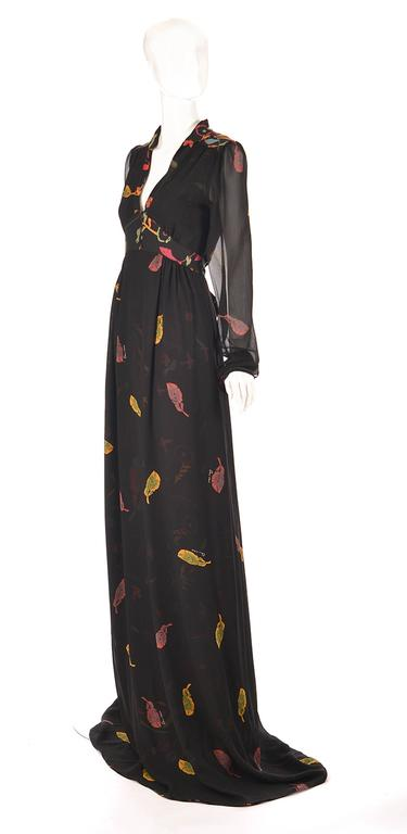 NWT 2008 Ossie Clark Black Silk Empire Feather Print Gown 2