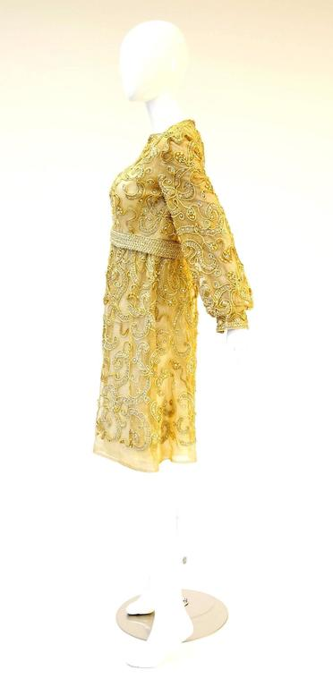 1966 Malcolm Star Embroidered Gold Coctail Dress For Sale 1