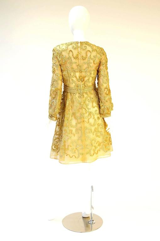 1966 Malcolm Star Embroidered Gold Coctail Dress For Sale 3