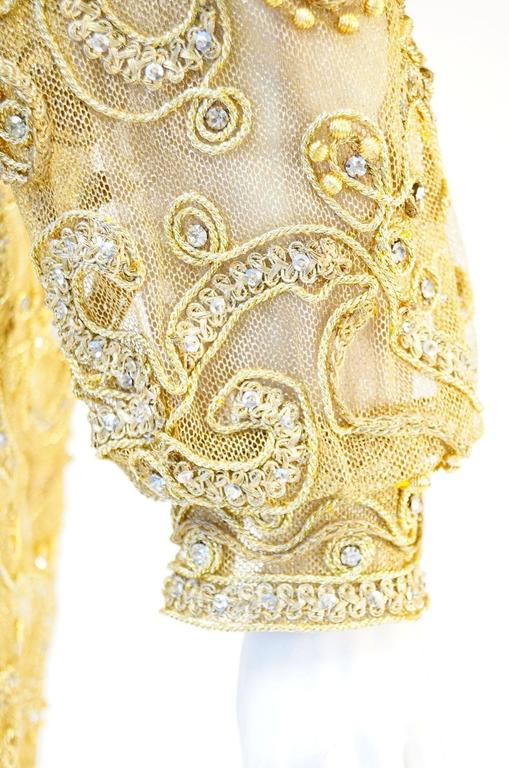 1966 Malcolm Star Embroidered Gold Coctail Dress For Sale 2