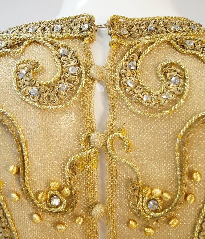 1966 Malcolm Star Embroidered Gold Coctail Dress For Sale 5