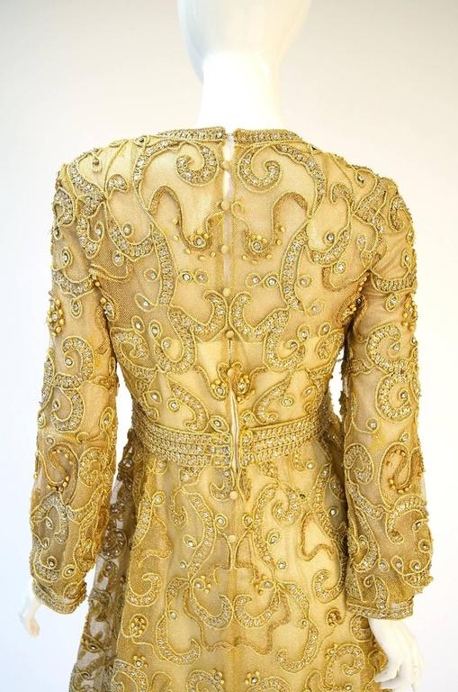 1966 Malcolm Star Embroidered Gold Coctail Dress For Sale 4