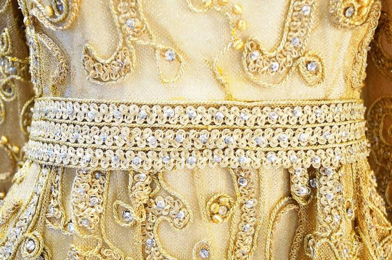 1966 Malcolm Star Embroidered Gold Coctail Dress In Good Condition For Sale In Houston, TX