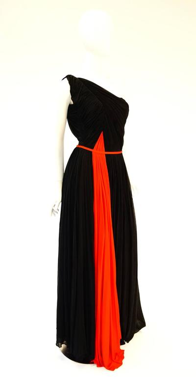 Women's Important 1940s Madame Grès Grecian Goddess Silk Knit Gown in Black and Red For Sale