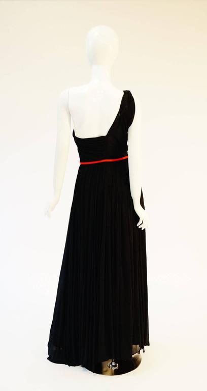 Important 1940s Madame Grès Grecian Goddess Silk Knit Gown in Black and Red For Sale 2